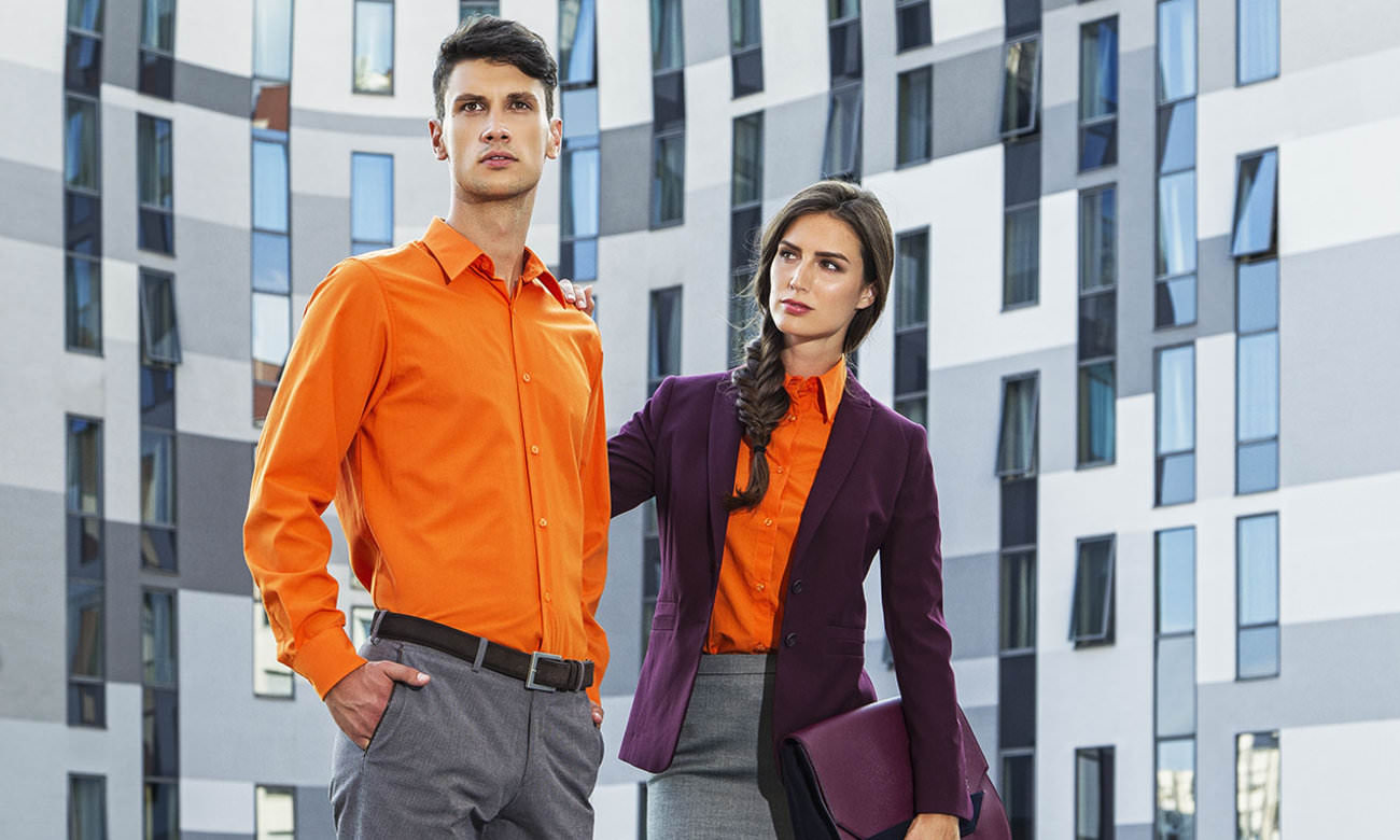 Hemden-Blusen Langarm ST-500-LA Orange Fashion