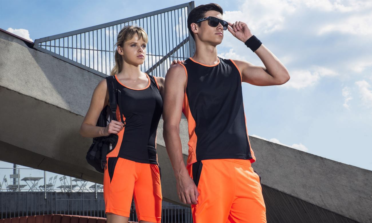 Laufshirts ST-143 Schwarz-Neon Orange Fashion