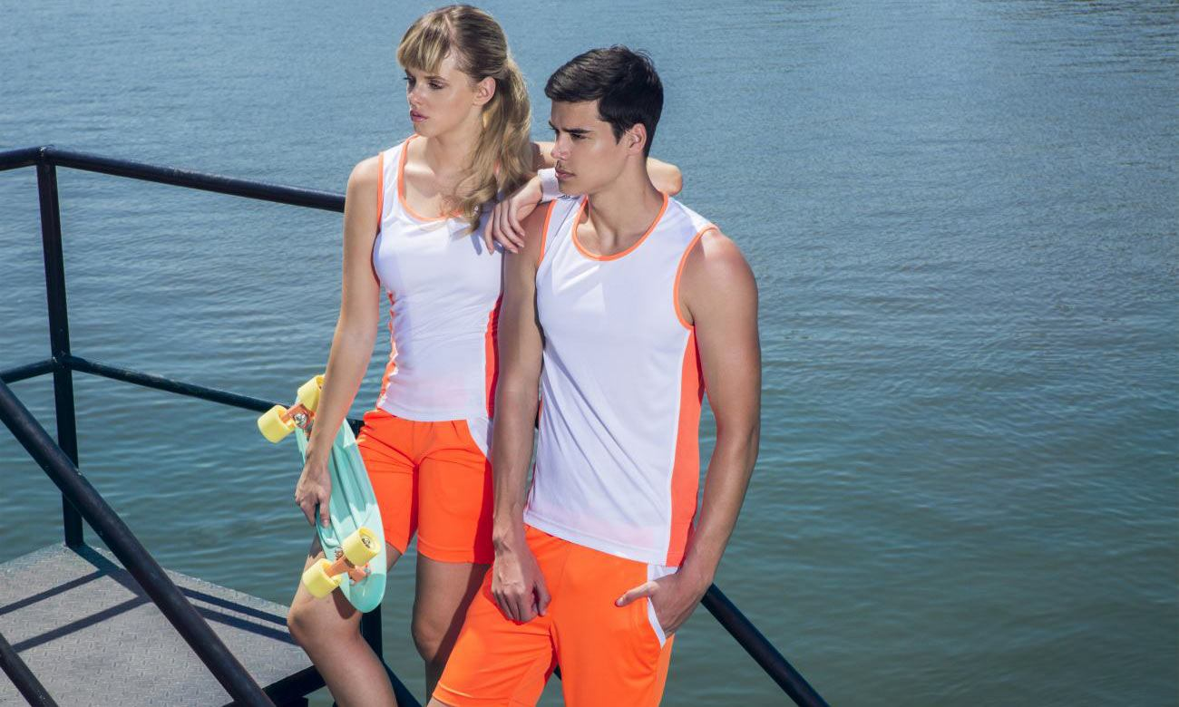 Laufshirts ST-143 Weiss-Neon Orange Fashion