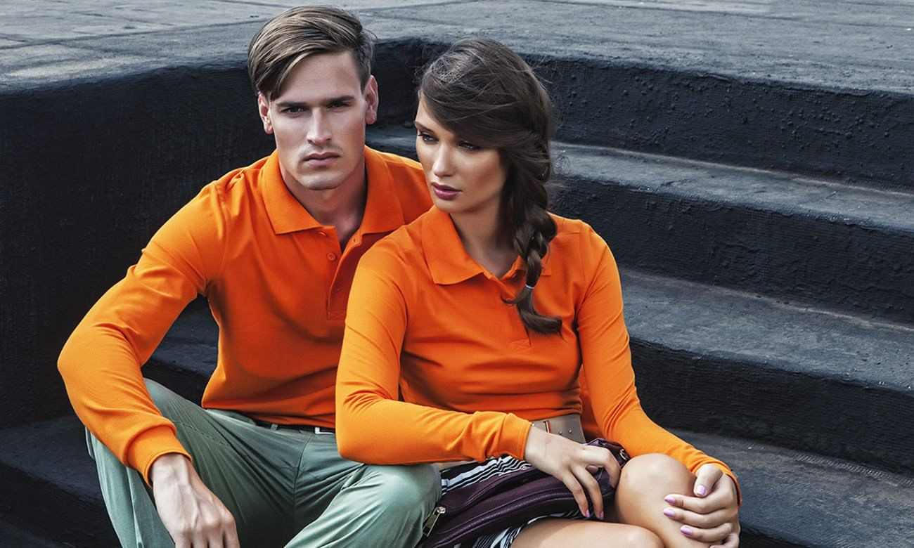 Poloshirts Standard Langarm ST-201-LA Orange Fashion