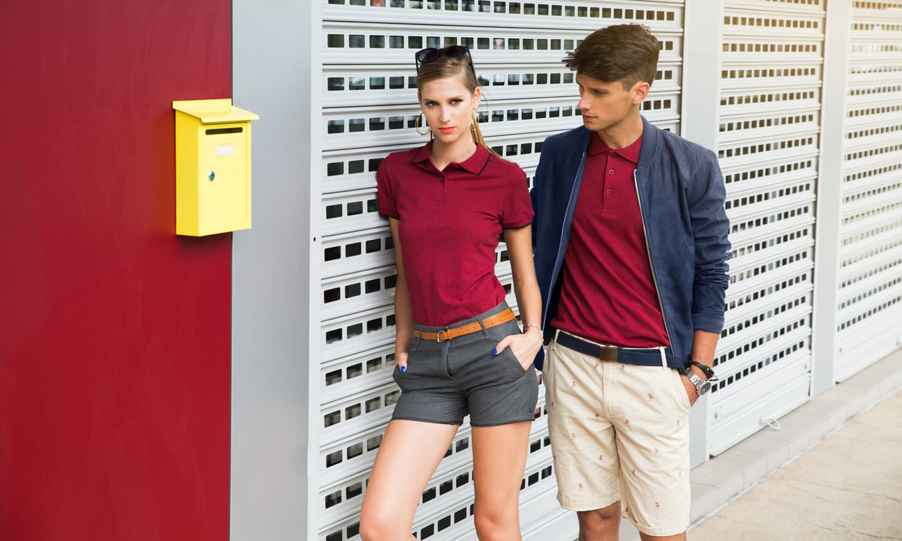 Poloshirts ST-203 Bordeaux-Schwarz Fashion