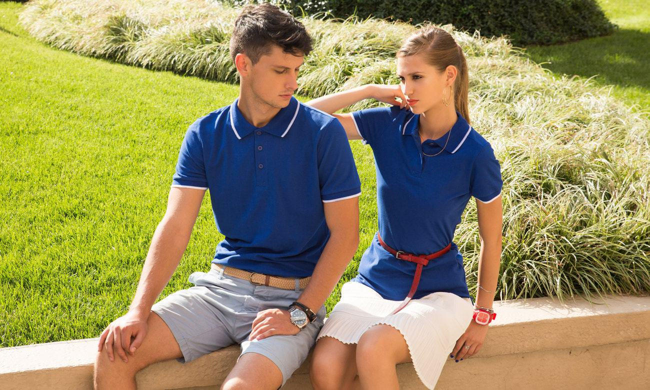 Poloshirts ST-203 Royalblau-Weiss Fashion