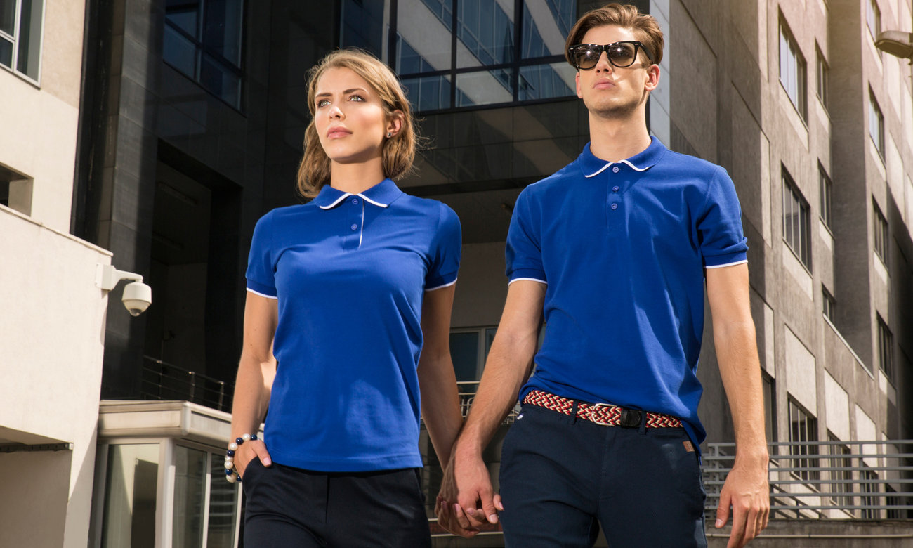 Poloshirts ST-213 Royalblau-Weiss Fashion