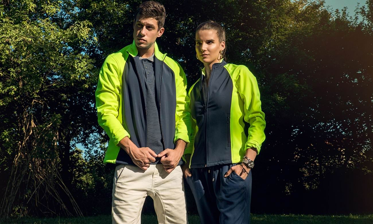 Softshell-Jacken ST-460 Dunkelblau-Neongelb Fashion