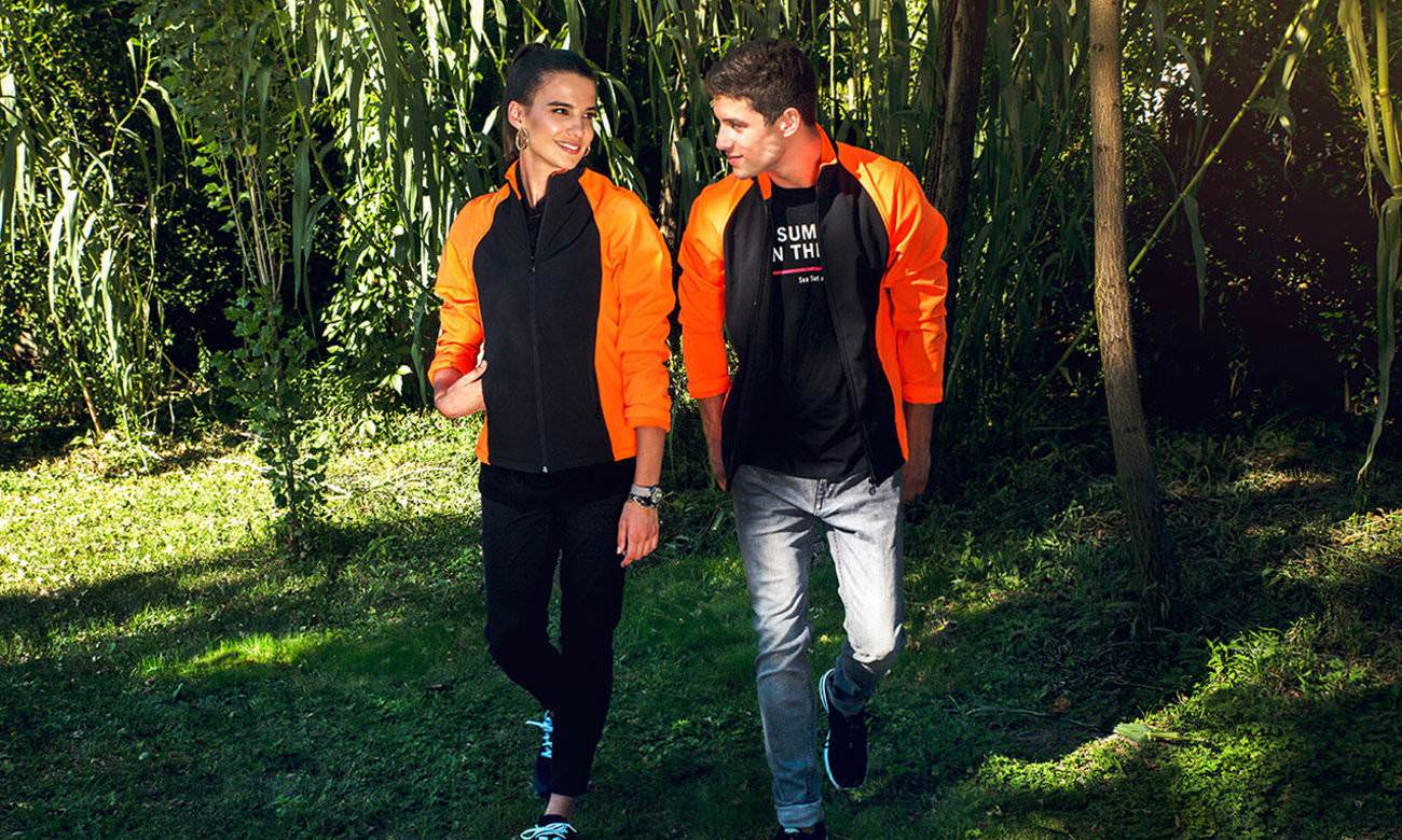 Softshell-Jacken ST-460 Schwarz-Neon Orange Fashion