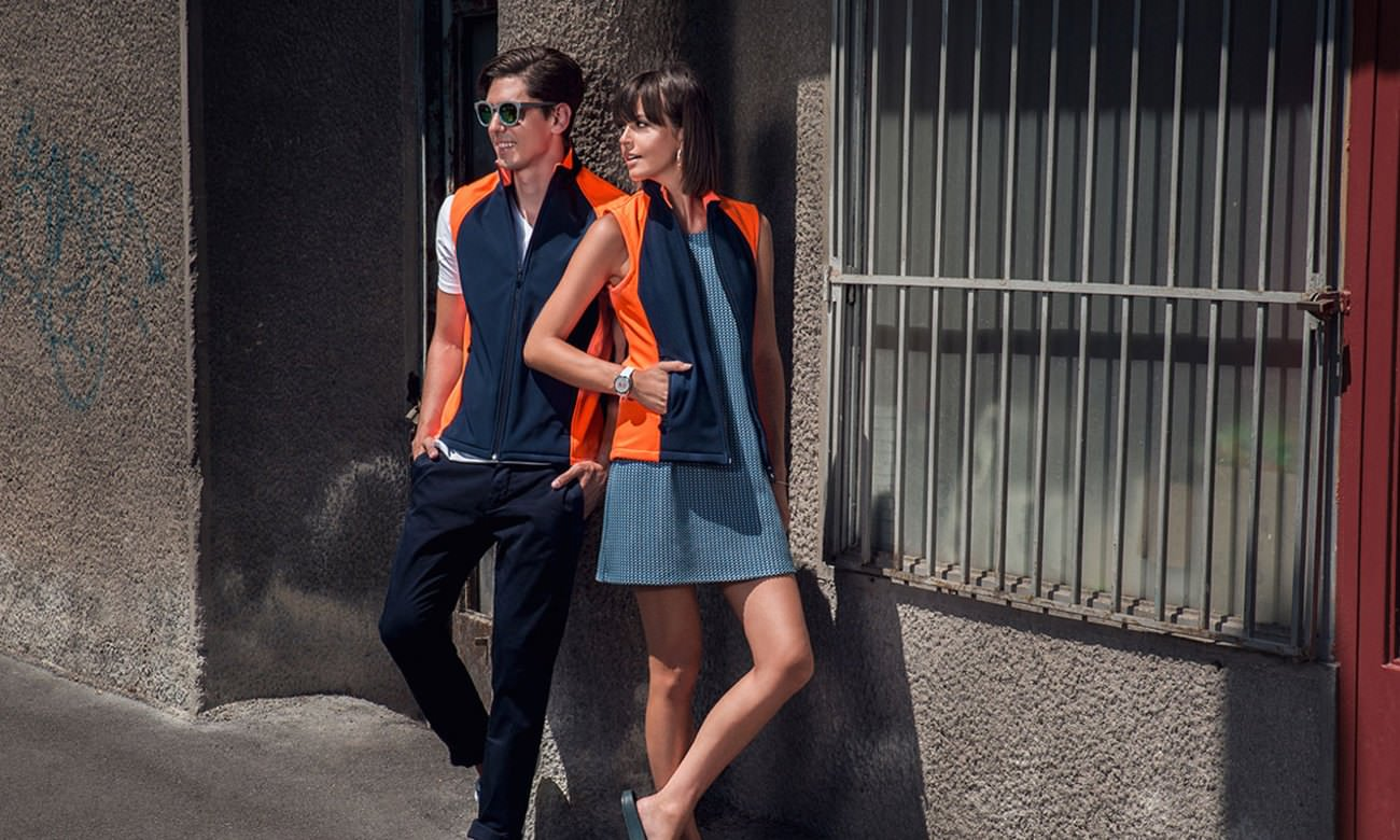 Softshell-Westen ST-465 Dunkelblau-Neon Orange Fashion