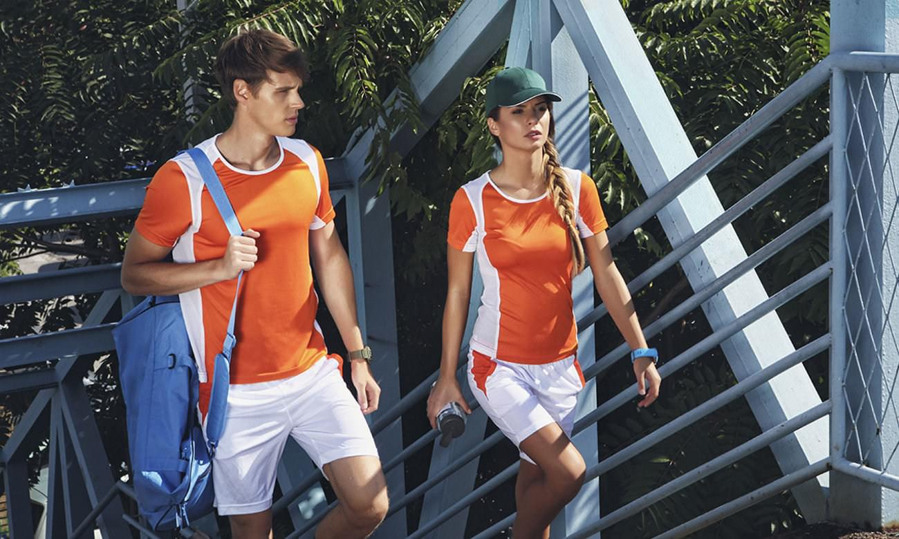 Sportshirts ST-140 Orange-Weiss Fashion