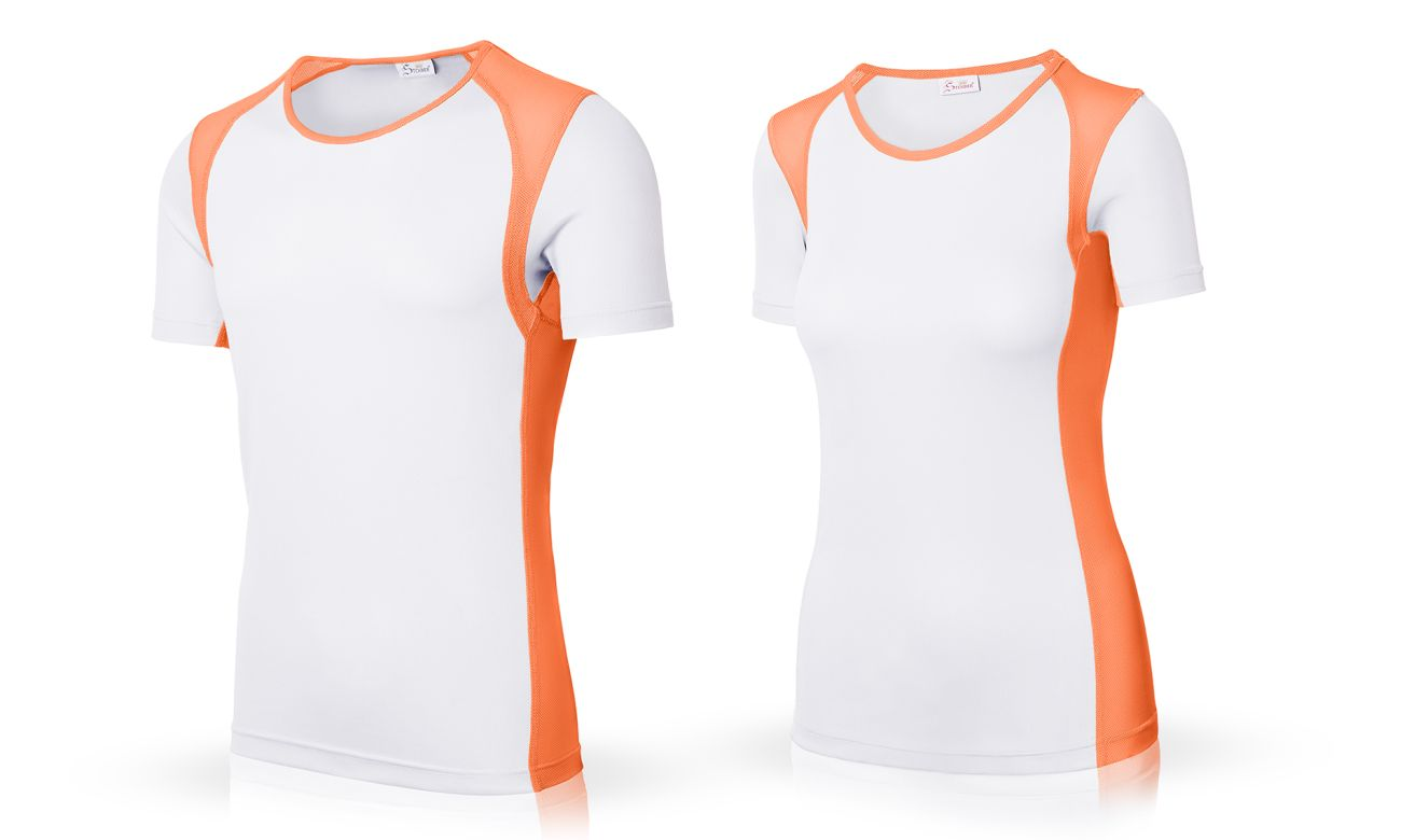 Sportshirts ST-140 Weiss-Neon Orange